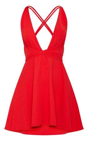 Red Wrap Detail Skater Dress | Dresses | PrettyLittleThing