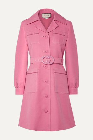 Pink Belted wool and silk-blend cady mini dress | Gucci | NET-A-PORTER