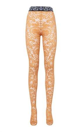 Versace Greca Border Lace Stockings