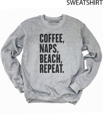 Coffee naps beach sweatshirtbeach   Etsy