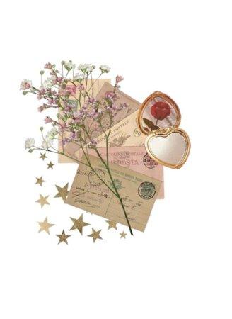 letters flower stars compact filler pink beige