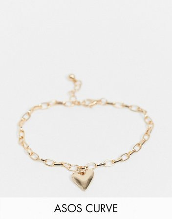 ASOS DESIGN Curve bracelet with heart charm in gold tone | ASOS