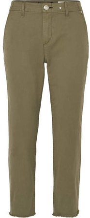 Buckley Cropped Cotton-blend Twill Straight-leg Pants - Green