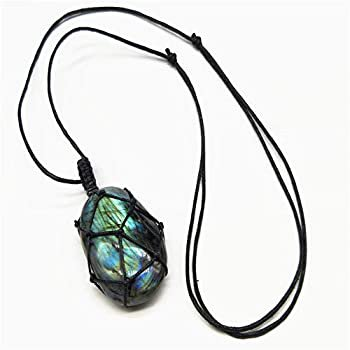 Amazon.com: Natural Labradorite Crystal Necklace Healing Chakra Pendant with Hand-Woven Rope Labradorite Palm Stone Moonstone Healing Stone Pendant: Clothing