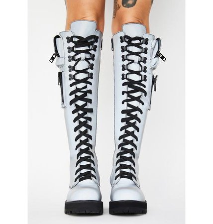 Current Mood Reflective Knee High Pocket Combat Boots Silver | Dolls Kill