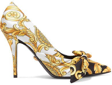 Printed Silk-faille And Leather Pumps - Gold
