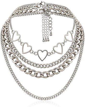 Amazon.com: Aimimier Punk Link Chain Choker Necklace Set 4Pcs Hollow Heart Choker Hiphop Chunky Chain for Women and Girls: Clothing