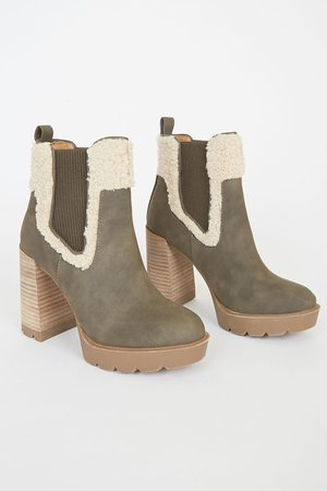 DV by Dolce Vita Dilla - Olive Green Boots - Platform Ankle Boots - Lulus