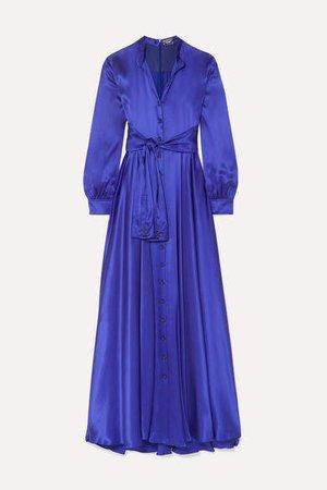 Tie-detailed Silk-satin Gown - Royal blue