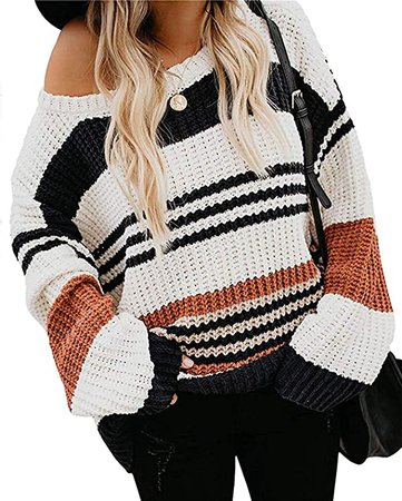 ZESICA Women's Long Sleeve Crew Neck Striped Color Block Casual Loose Knitted Pullover Sweater Tops Black at Amazon Women's Clothing store