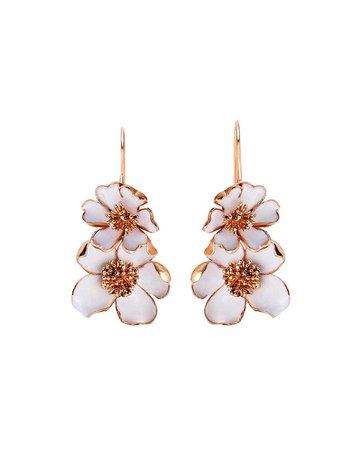 Oscar de la Renta Flower Enamel Earrings