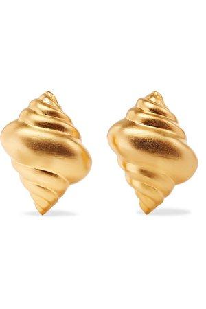 Kenneth Jay Lane Gold Shell Earrings