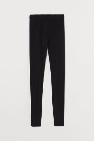 Silk-blend leggings - Black