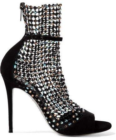 Crystal-embellished Mesh And Suede Sandals - Black