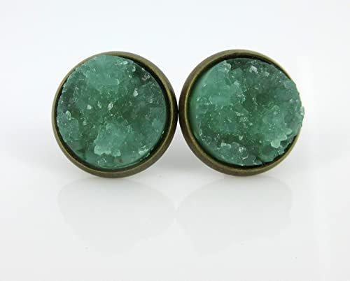 Antiqued Gold-tone Mint Green Faux Druzy Stone Stud Earrings 12mm
