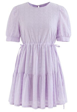 Floret Embroidered Drawstring Waist Eyelet Mini Dress in Lilac - Retro, Indie and Unique Fashion