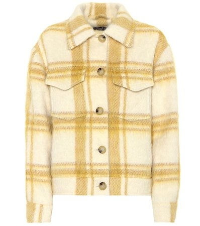 Checked wool-blend jacket