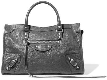 Classic City Textured-leather Tote - Gray