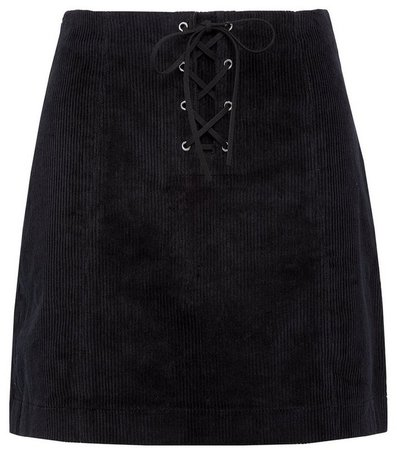 **Lola Skye Black Corduroy Lace Skirt