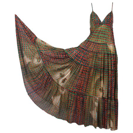 Jean-Paul Gaultier Mesh Plaid Multi-Tiered Maxi Dress W/Digital Face Print For Sale at 1stdibs