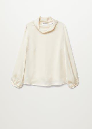 High collar satin blouse - Women | Mango USA