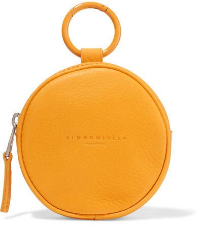 Circle Pop Textured-leather Pouch - Orange