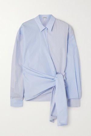 Blue Paneled striped cotton-poplin wrap blouse   Loewe   NET-A-PORTER