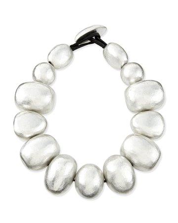 """Viktoria Hayman 20.75"""" Freeform Silver Foil Bauble Necklace"""