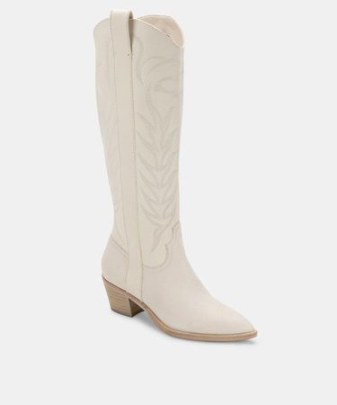 SOLEI BOOTS WHITE EMBOSSED LEATHER – Dolce Vita