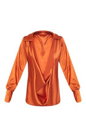 Khaki Extreme Cowl Longline Satin Shirt | PrettyLittleThing USA