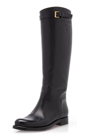 Leather Knee High Boots By Prada | Moda Operandi