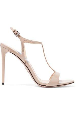 Prada | 105 glossed-leather sandals | NET-A-PORTER.COM