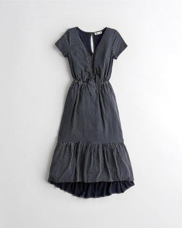 Cap-Sleeve Ruffle-Hem Midi Dress