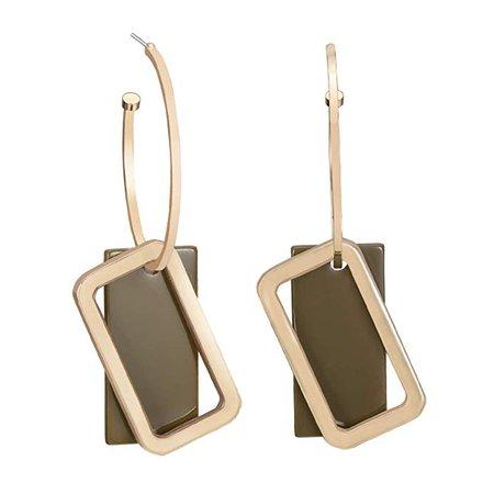 Geometric Hoop Earrings, Gold Loop with Acrylic Rectangular Drop Earrings, Gold and Dark Green: Clothing