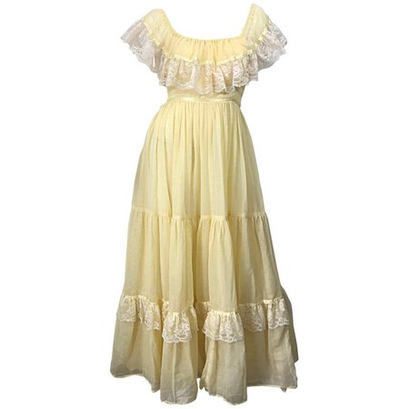 1970s Pale Light Yellow Cotton Voile + Lace Vintage Boho 70s Maxi Dress For Sale at 1stdibs