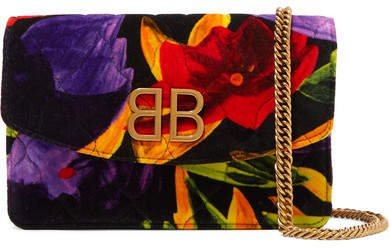 Bb Chain Quilted Printed Velvet Shoulder Bag - Red