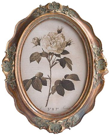 Amazon.com - CISOO Vintage Oval Picture Frame 5x7 Table Top Display Wall Mounting Antique Photo Frame Home Decor (Bronze) -