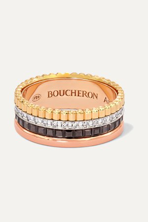 Gold Quatre Classique Small 18-karat yellow, white and rose gold, PVD and diamond ring | Boucheron | NET-A-PORTER