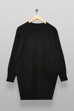 Black Knitted Oversized Mini Dress | Topshop