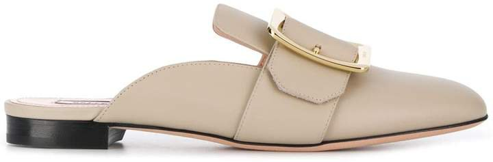 buckled flat mules
