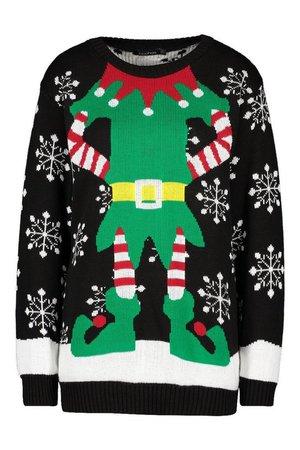 Christmas Mrs Elf Jumper | Boohoo