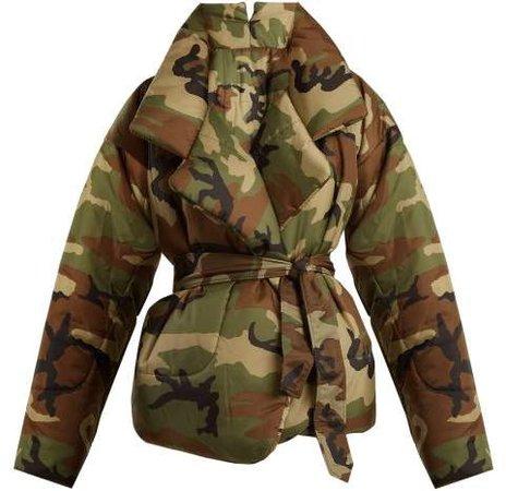 Camouflage Print Sleeping Bag Coat - Womens - Camouflage