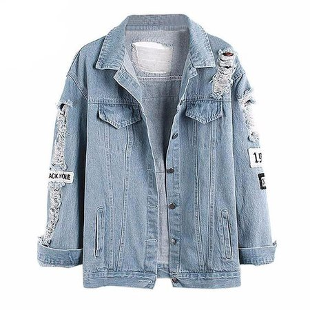 light blue ripped jean jacket