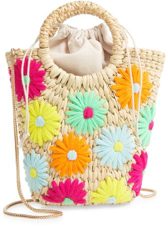 Mini Susan Neon Daisy Straw Crossbody Bag