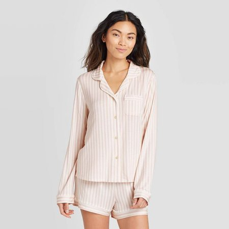 Women's Striped Beautifully Soft Long Sleeve Notch Collar And Short Pajama Set - Stars Above™ Soft Pink : Target