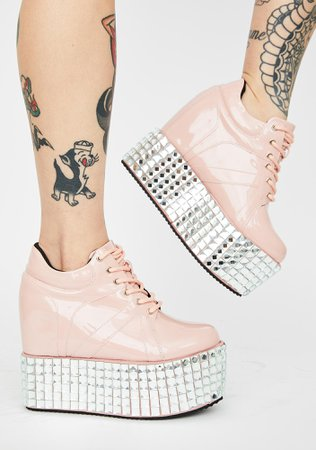 Studded Patent Platform Sneakers - Pink | Dolls Kill