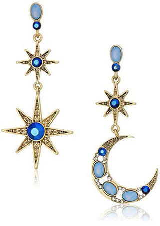 "Betsey Johnson ""Mystic Baroque"" Queens Blue and Gold Moon and Star Drop Earrings: Jewelry"