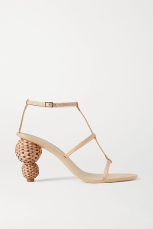 Beige Eden raffia and leather sandals | Cult Gaia | NET-A-PORTER