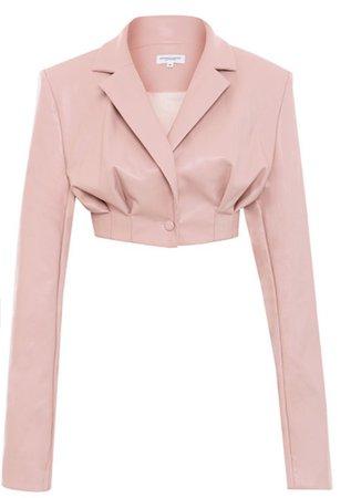 pink cropped blazer