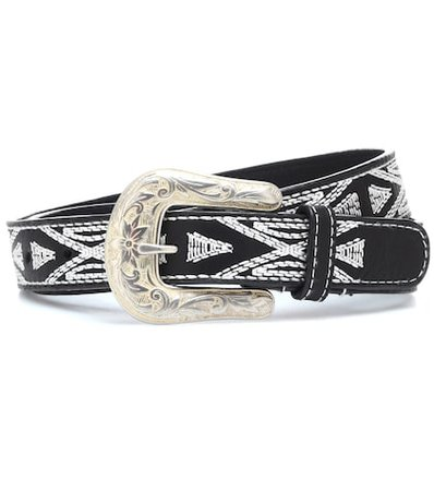 Tety embroidered leather belt